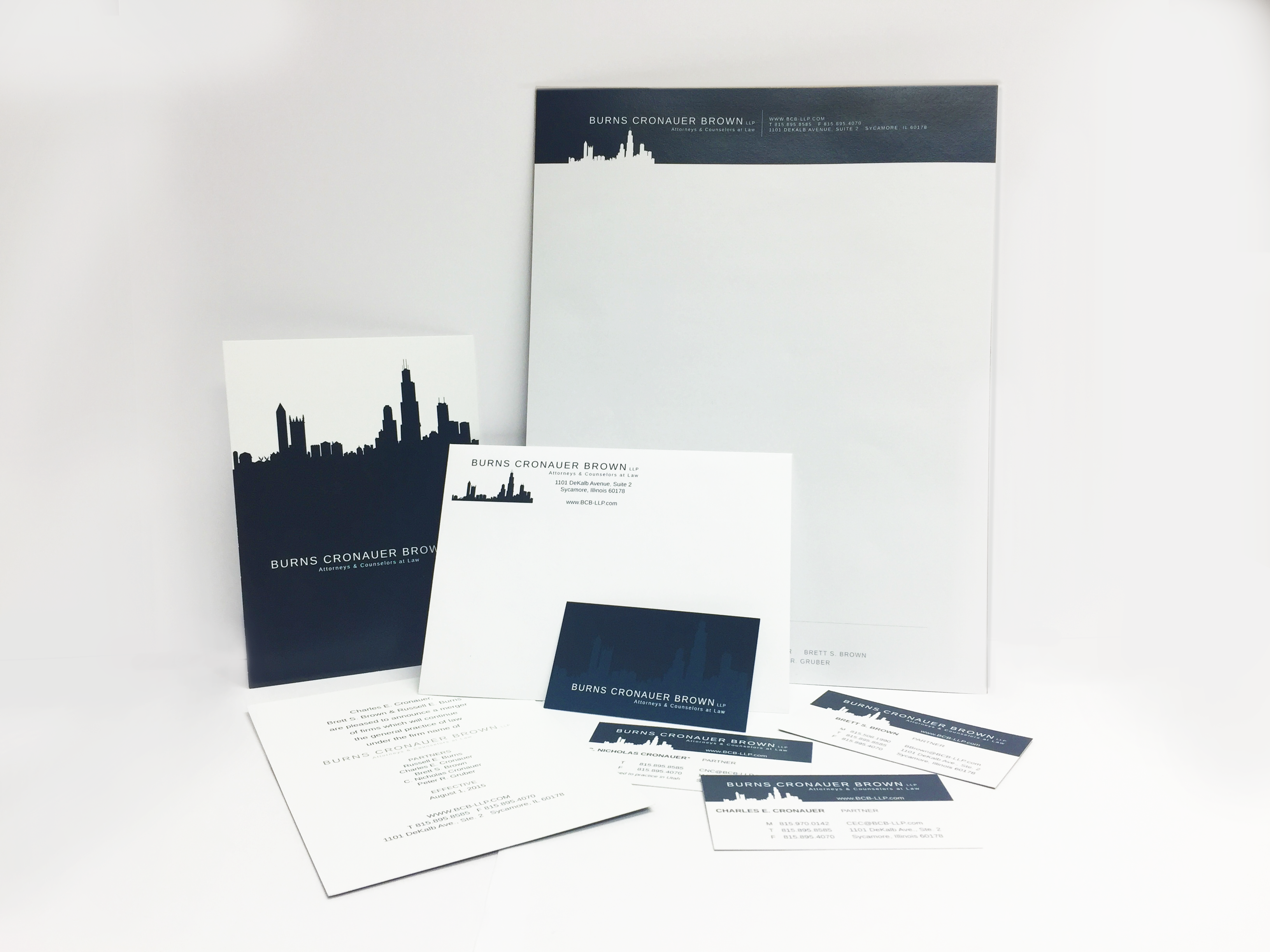 Full service book, business cards, poster, and mail