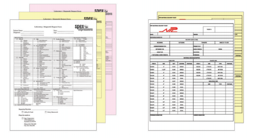 Carbon copy forms with sizing.