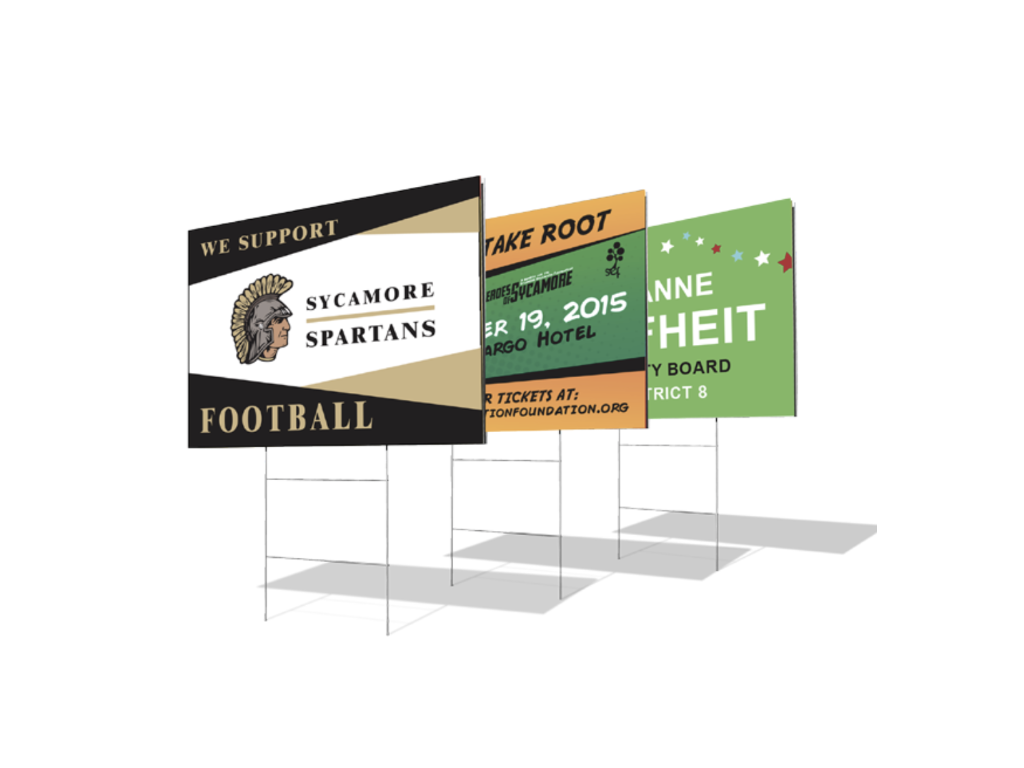 Foam posters for events, sport teams, and elections.